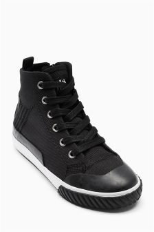 Black Baseball Hi Tops (Older Boys)