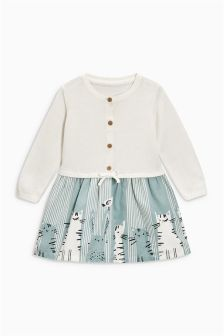 Ecru Cat Print Knitted Top Dress (0mths-2yrs)