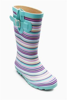 Ecru/Pink Stripe Wellington Boots (Older Girls)