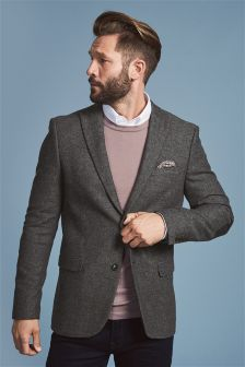 Grey Broken Twill Slim Fit Jacket