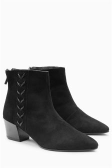 Leather Side Lace Ankle Boots