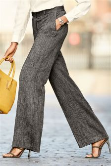 Black/White Herringbone Slouch Trousers