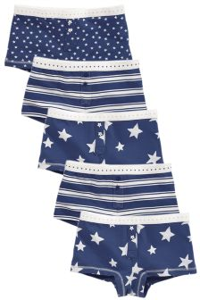 Navy Star Print Boxers Five Pack (3-16yrs)