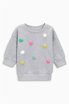 Grey Pom Pom Sweater (3mths-6yrs)