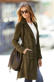 Green Suede Trench