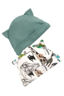 Green Jungle Print Beanie Hats Two Pack (0-18mths)