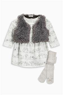 Ecru Print Dress, Gilet And Tights Set (0mths-2yrs)