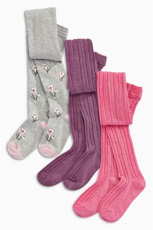 Raspberry/Damson/Grey Floral Tights Three Pack (3-16yrs)
