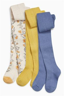 Yellow Buttercup Tights Three Pack (3-16yrs)