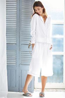 White Button Through Cotton Pyjamas