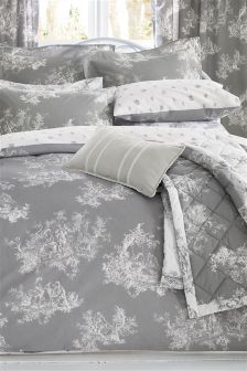 2 Pack Grey Toile Bed Set