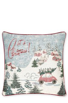Tapestry Christmas Scene Cushion