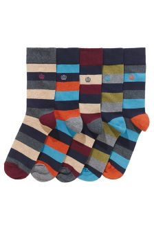 Mixed Block Stripe Socks Five Pack