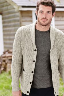 White Marl Shawl Cardigan