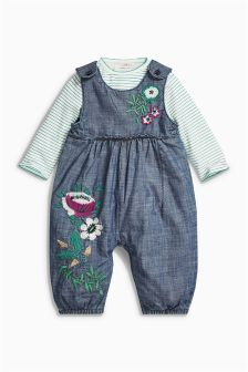 Denim Embroidered Floral Dungarees And Bodysuit (0mths-2yrs)