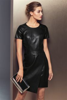 Black Wrap Leather Look Dress