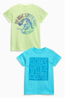 Yellow/Aqua Ride The Wave T-Shirts Two Pack (3-16yrs)