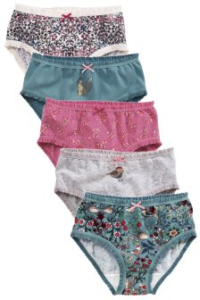 Teal Frill Trim Briefs Five Pack (1.5-12yrs)
