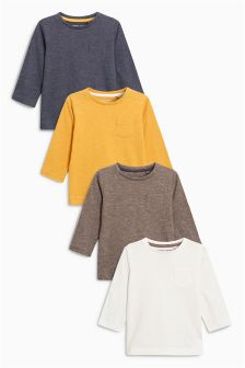 Grey/Ochre/Khaki/Oatmeal Long Sleeve Plain T-Shirt Four Pack (3mths-6yrs)