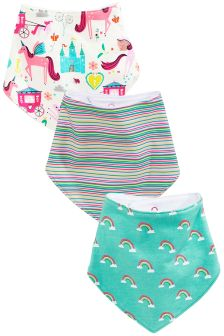 Pink/Turquiose Unicorn Dribble Bibs Three Pack