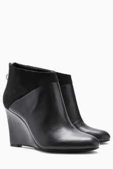 Black Wedge Shoe Boots