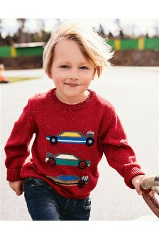 Red Race Car Crew Neck Jumper (3mths-6yrs)