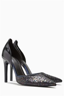 Navy Glitter Two Part Court Shoes