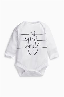 White Long Sleeve My First Smile Bodysuit (0-0mths)