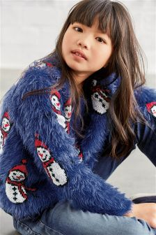 Blue Fluffy Snowman Sweater (3-16yrs)