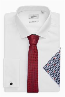 White Shirt With Tie And Pocket Square