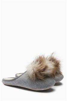 Felt Pom Mule Slippers