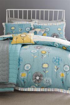 Cotton Rich Teal Retro Floral Print Bed Set