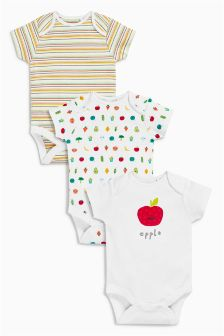 White Vegetables Short Sleeve Bodysuits Three Pack (0mths-2yrs)