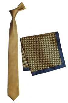 Gold Tie And Pocket Square Set