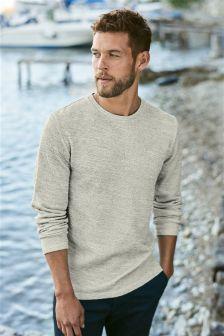 Ecru Long Sleeve Textured T-Shirt