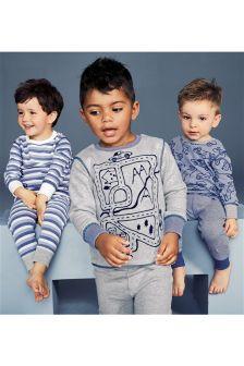 Blue Marl Car And Stripe Pyjamas Three Pack (9mths-8yrs)