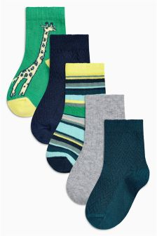Multi Socks Five Pack (Younger Boys)