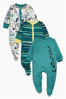 Green Jungle Print Sleepsuits Three Pack (0mths-2yrs)