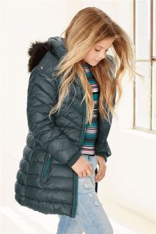 Teal Long Padded Jacket (3-16yrs)