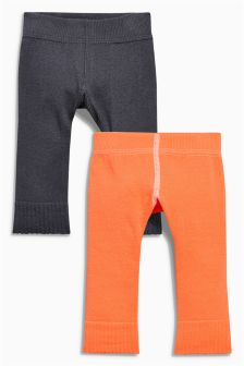 Charcoal/Coral Footless Tights Two Pack (0mths-2yrs)