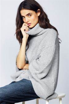 Cable Roll Neck Poncho