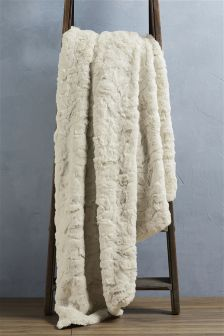 Cream Textured Faux Fur Throw
