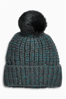 Teal Sequin Beanie (Older Girls)