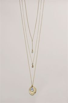 Gold Tone Layered Y Drop Necklace