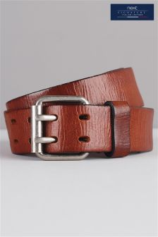 Brown Signature Italian Leather Two Prong Belt
