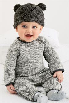 Grey Textured Romper (0mths-2yrs)