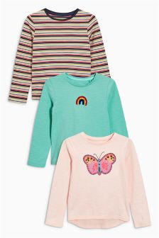 Ecru/Pink/Butterfly Long Sleeve T-Shirts Three Pack (3mths-6yrs)