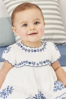 Ecru Embroidered Blouse And Bloomer Set (0mths-2yrs)