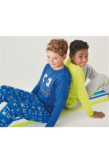 Blue/Grey Pixel Face And Plain Pyjamas Two Pack (3-16yrs)