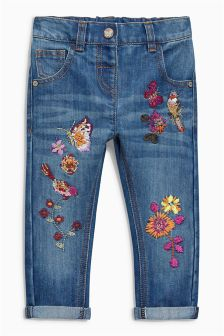 Mid Blue Bird Embroidered Jeans (3mths-6yrs)